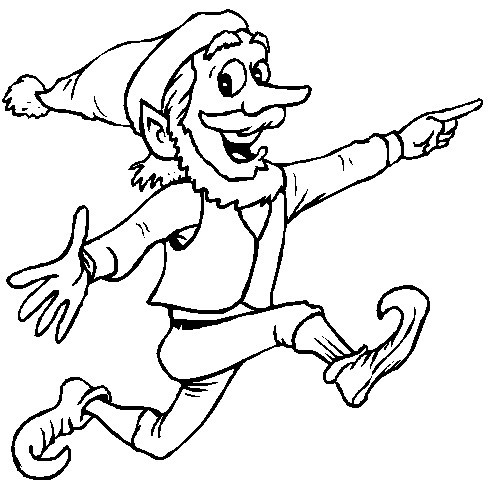 Printable Christmas Coloring Page: Elf Running