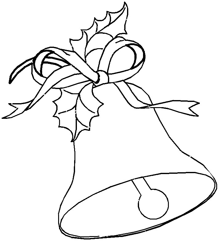 Printable Christmas Coloring Page Large Bell