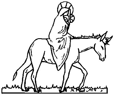 Printable Christmas Coloring Page: Mary and Jesus on Donkey