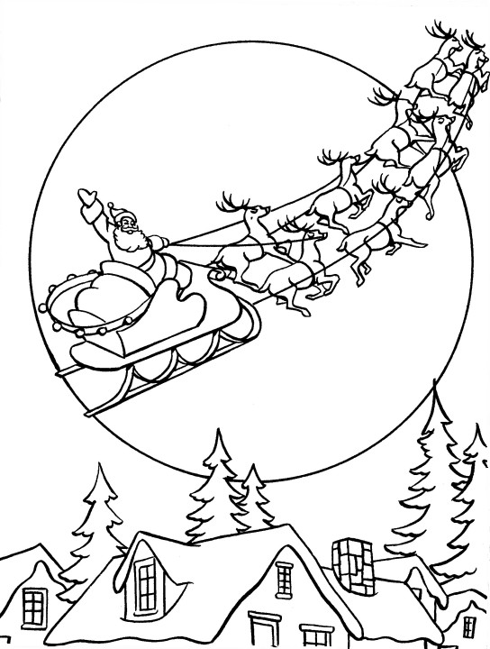 santa over the roof tops coloring index