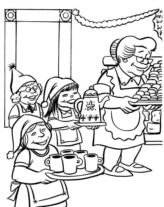 printable christmas coloring page elves with mrs claus