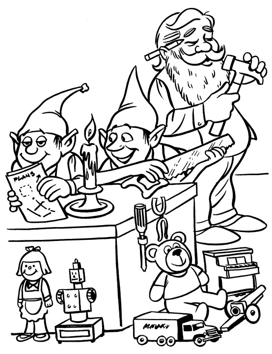 printable christmas coloring page elves in work santa and his