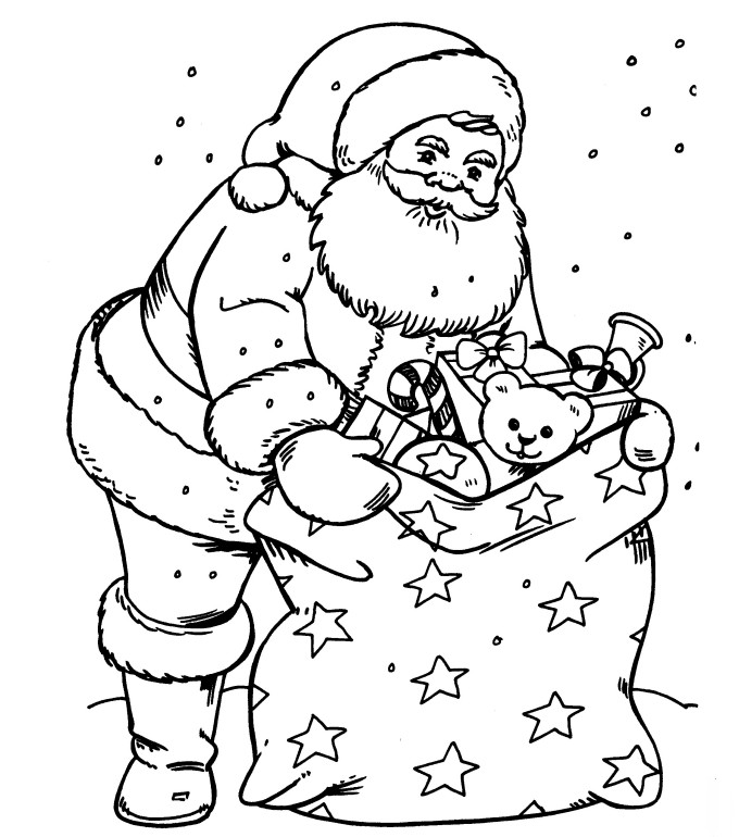 santa with a sack full of toys coloring index