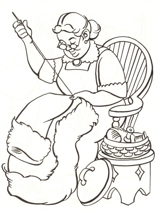 Printable Christmas Coloring Page Mrs Claus Sewing