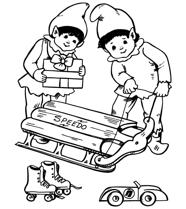 Printable Christmas Coloring Page: Elf with Toys