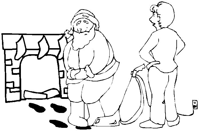 Printable christmas coloring page santa by the fireplace