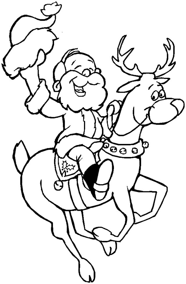 csantadeer Santa And Reindeer Coloring Pages