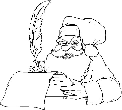 santa claus making his list coloring index