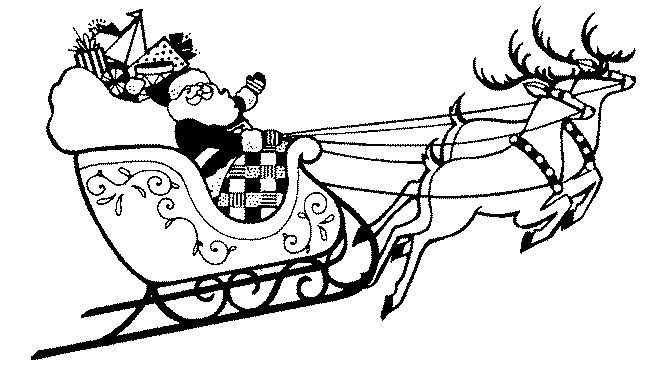 Printable christmas coloring page santa in sleigh for Santa and reindeer coloring pages printable