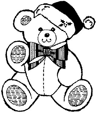 Printable Christmas Coloring Page Teddy Bear