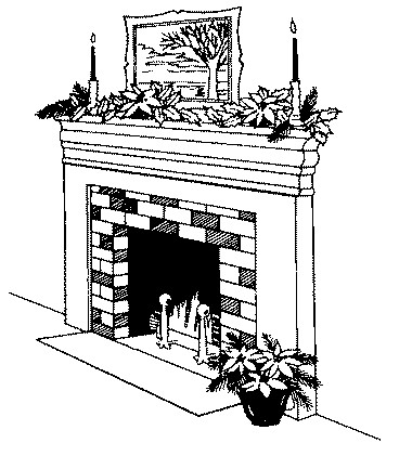 Fireplaces clip art - Black and white fireplace ...