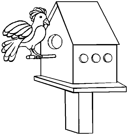 Printable Easter Coloring Page bird house