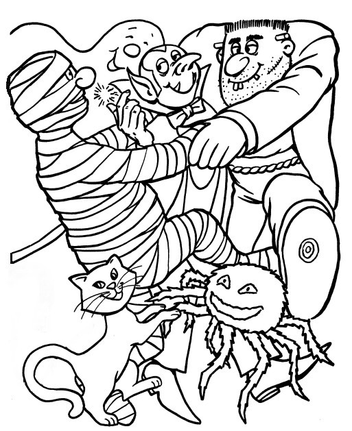 Halloween Coloring Pages Monsters : Free scary spider coloring pages