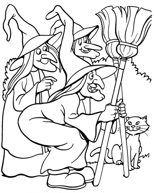 Printable Halloween Coloring Page three witches